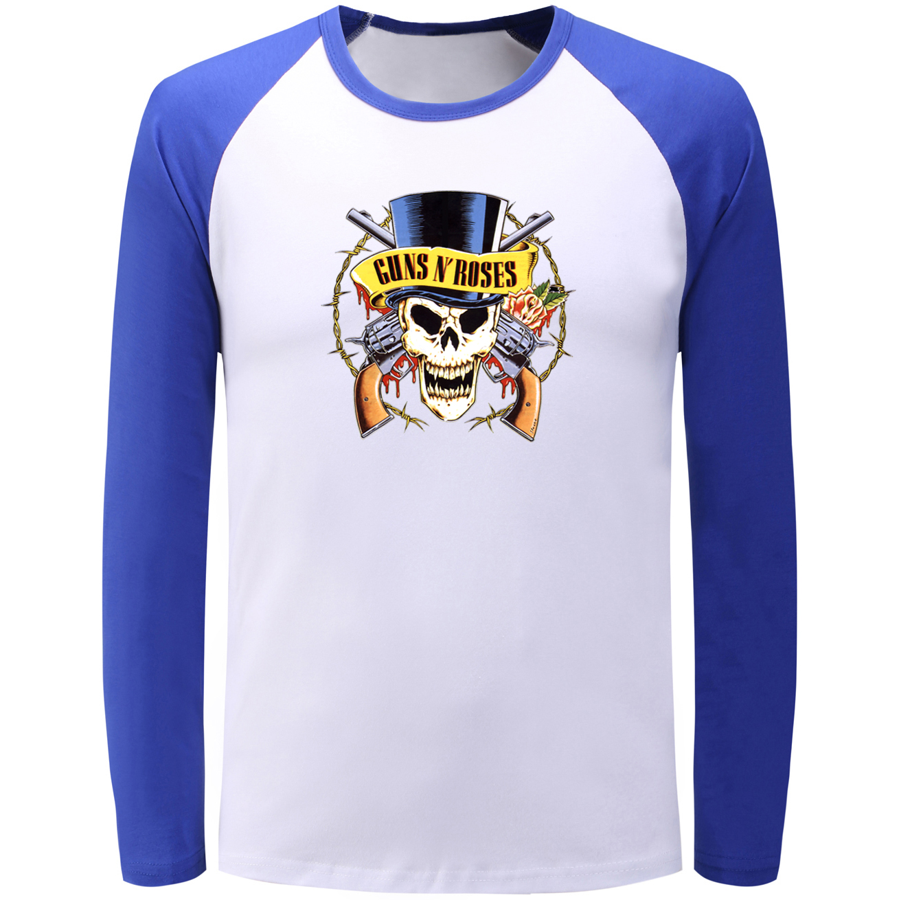 New Style GUNS N ROSE Skulls Graphic Raglan Long Sleeve T Shirt Men Women Fashion Tshirt Bodybuilding Fitness T-shirt Boy Girl