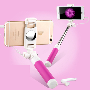 Mini Universal Wired Selfie Stick 600 MM Portable Extendable Handheld fold Slip Selfie Pole For Samsung Iphone 6 plus 5s 4s