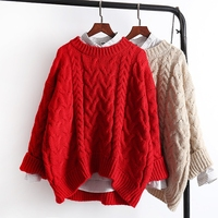 Fashion Thick Warm Long Sleeve Women Red Sweater Pullover 2019 Winter New Arrivals Hot Female Loose Knitted Pullovers Sweaters