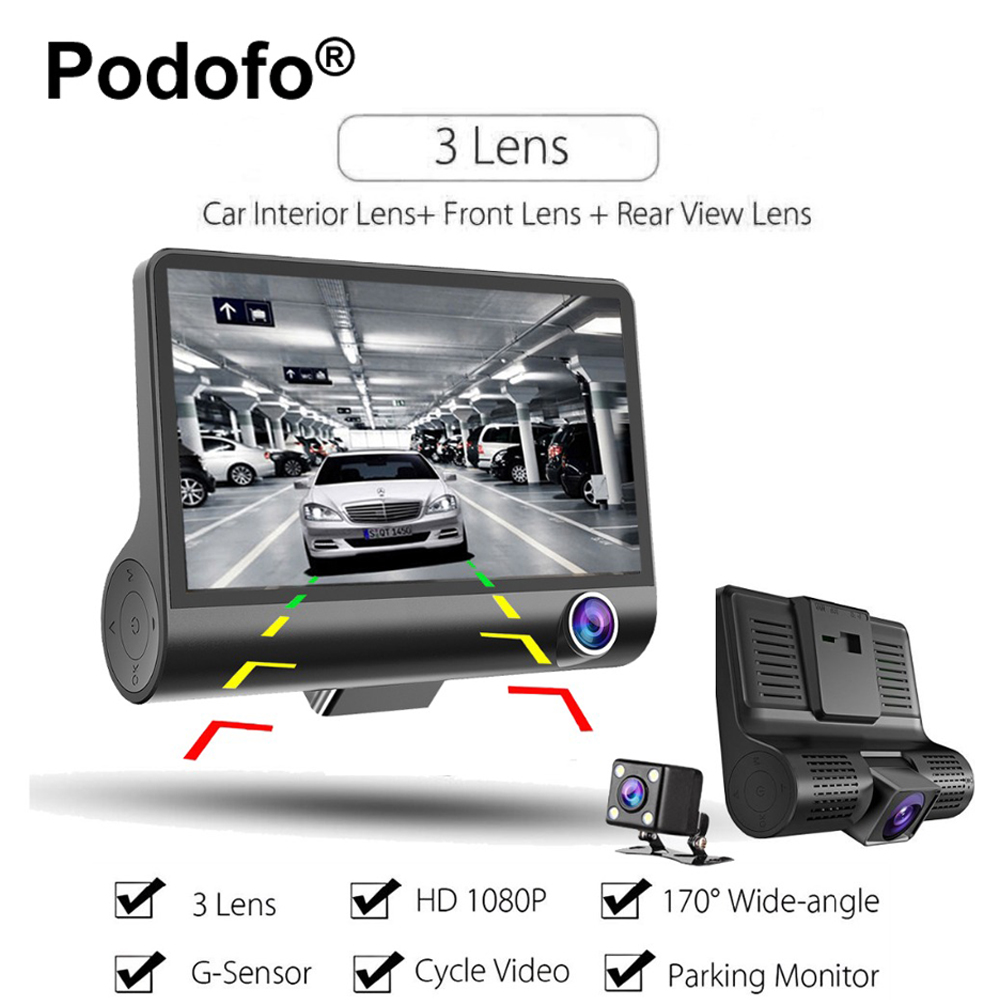Podofo 4.0 Inch Three-way Car Camera Full HD 1080P Registrator 170 Degree Wide Angle Dash Cam Video Recorder G-Sensor Dashcam