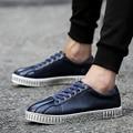 Fashion Men Casual Shoes Lace Up Breathable Leather Men Shoes Casual Black Blue White