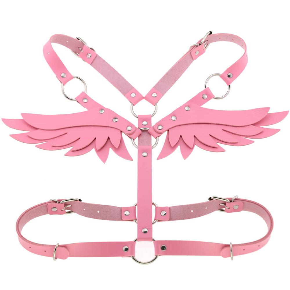 Wings Leather harness Goth Punk body chain women strap summer festival girls lingerie cage harness rave babe jewelry 5