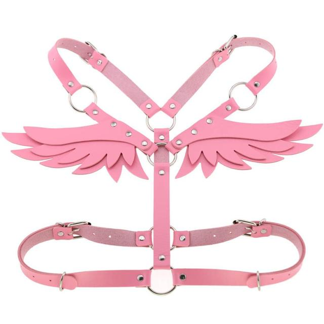 Goth Punk Wings Leather harness  2