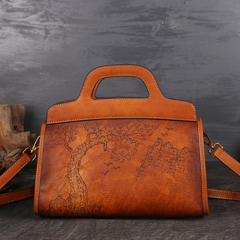 New Brand Luxury Women Genuine Leather Handbag Ladies Retro Elegant Shoulder Messenger Bag Cow Leather Handmade Womans Bags Big vintage women genuine leather handbags ladies retro elegant shoulder messenger bag cow leather handmade womans bags