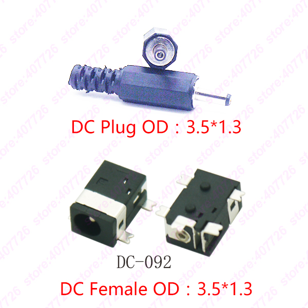 10PCS DC Charging Socket Pin1.3*Plug3.5mm Female And Male DC Power Jack 4Pin SMD PCB Mounting DC-092 5set 3pin female panel powercon stage light power plug and socket audio connector plug socket 20a 250v nac3fca with nac3mpa 1