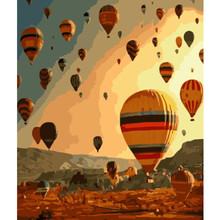 hot air balloon Floating in the sky Landscape Umbrella Picture Drawing Home Decoration Living Room Unique Gifts Decor Art40x50cm