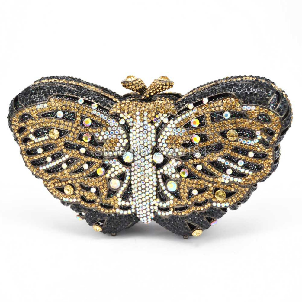 Stylish Butterfly Rhinestone Clutch Bag Luxury Crystal Evening bag for Prom Ladies Wedding Bridal Party Purse for Feast 88169 winmax popular luxury evening bag sparkly crystal women party bag colorful butterfly pattern ladies dinner bag prom clutch purse