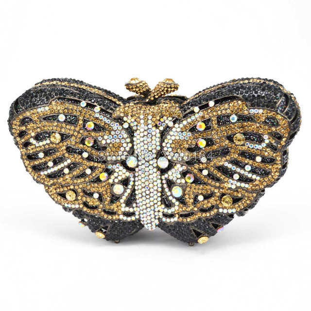 Stylish Butterfly Crystal Evening Clutch Bag