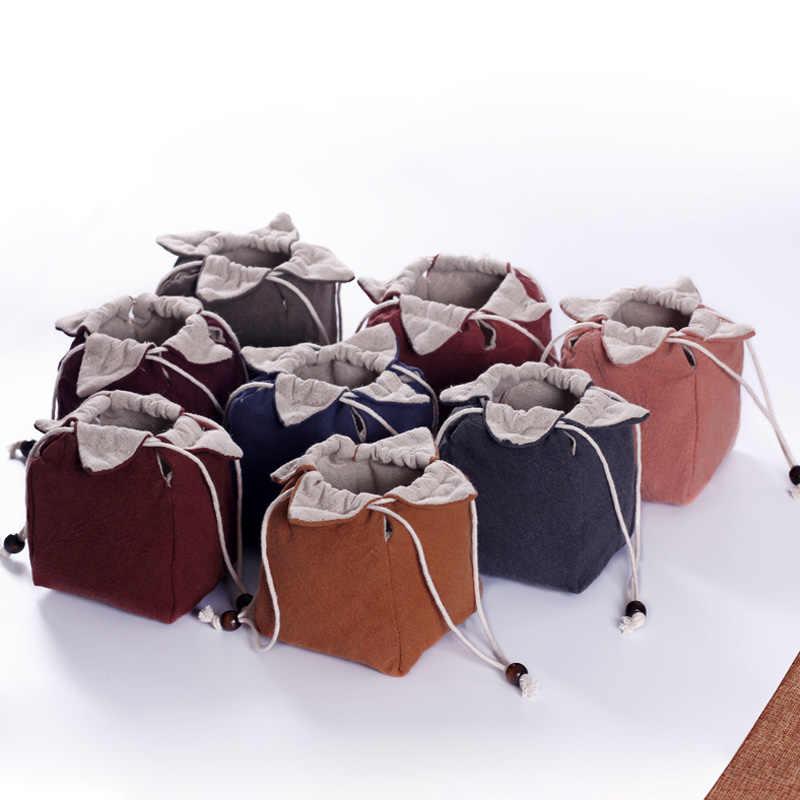 Japonês Pano de Linho Pacote de Saco De Armazenamento de Viagem Portátil Jogo de Chá de Lótus para o saco de Piquenique Alimentos Porca Bule de Chá Xícara de Chá Brinquedos Jóias presente