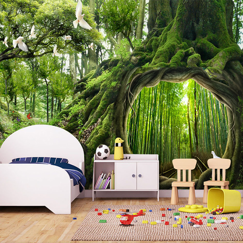Custom Photo Wallpaper Green Virgin Forest Tree Hole Stereoscopic Mural Wall Painting Living Room Bedroom Background Murales 3D купить