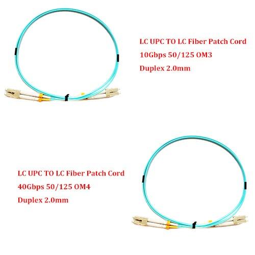 5 pièces 1.0 Compteur LC UPC À LC UPC 10gbps OM3/40 Gbps OM4 MM 50/125 Multi mode Cordon De Raccordement En Fiber Optique Duplex 2.0mm