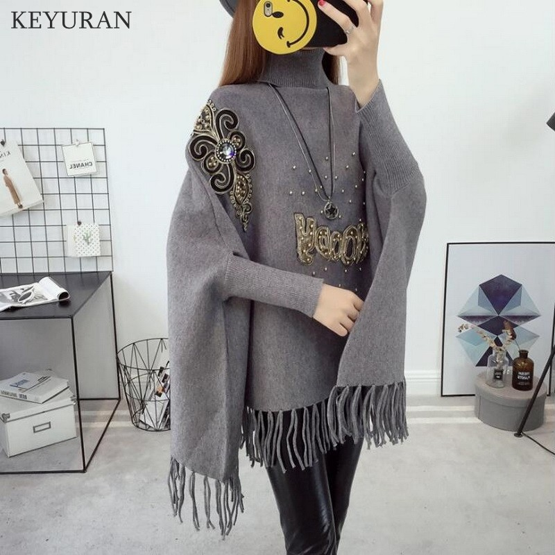 Maternity Sweater Pullovers Women 2018 Autumn Winter New Bat Shirt Knitted Coat Shawl Tassel Hig Collar Beading Pregnant Clothes autumn winter new pregnant women sweater thickening slim package hip warm clothing knitted shirt maternity sweaters