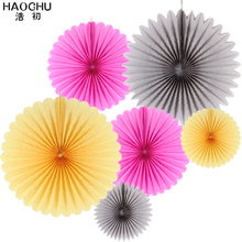 HAOCHU Pack of 6 Paper Fan Decoration Accodion Fans Crinkle Fans Rosettes Pinwheel Backdrop for Wedding
