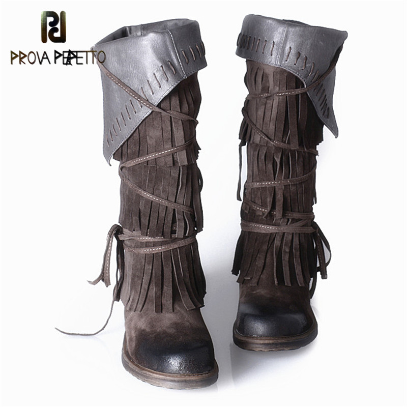 Prova Perfetto Fall Winter Tassels Knee High Boots For Woman Side Zipper Round Toe Low Heels