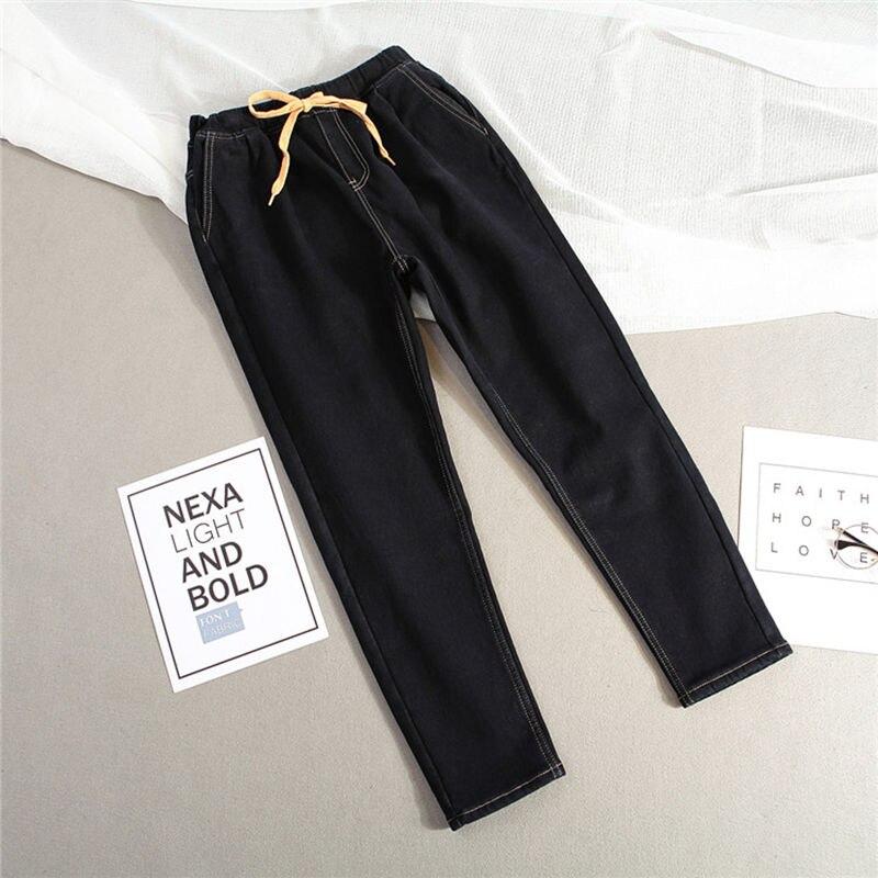 Plus Size 5XL Winter Plus Velvet Warm   Jeans   Woman Drawstring High Waist   Jeans   Denim Long Pants Vintage Women Harem   Jeans   1648