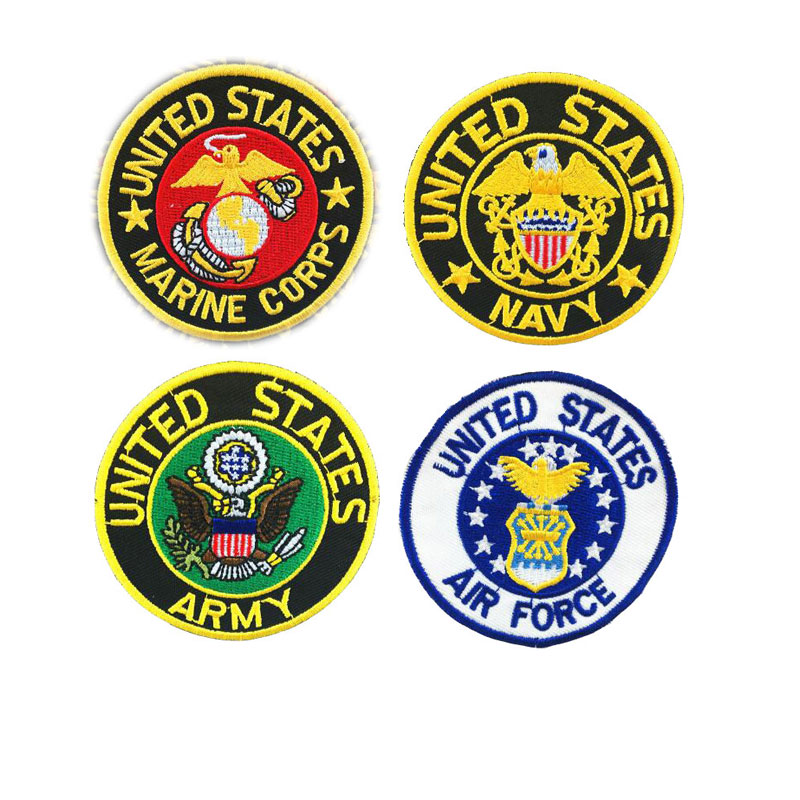 USA Army Navy Air Force Marine Iron on Patches Embroidered