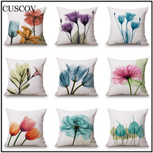 Europe and the United States simple style colorful flowers square polyester pillowcase car cushion cover exquisite pillow covers