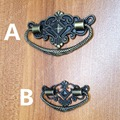 decorative antique style 48*28mm / 73*45mm zinc alloy handle knob pull for boxes for wooden boxes
