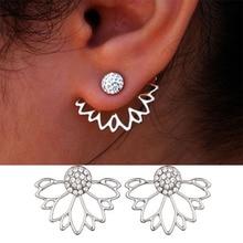 2019 Fashion Hollow Lotus Flower Stud Earrings For Women Cute Tiny Ear Hook Simple Statement Jewelry Gift Wholesale WD270