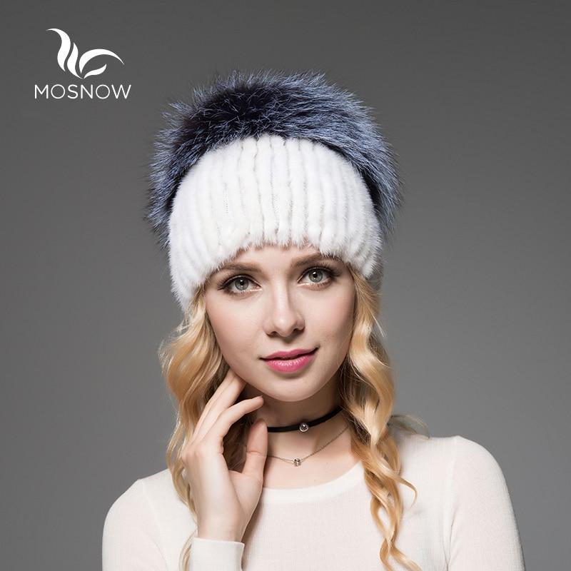 MOSNOW Elegant Mink Fur Winter Hats For Women Luxury Fluffy Fox Pompons 2017 New Solid Stripe Knitted Warm Skullies Beanie Cap wholesale two fur ball pompon solid beanie hats pom poms hats winter warm skullies
