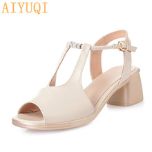 AIYUQI  Gladiators womens sandals 2019 new genuine leather large size fashion mid heel women summer footwear