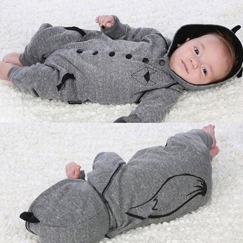 Fashion Newborn Infant Baby Boys Girls Hooded Clothes Long Sleeve Fox Tail Romper Jumpsuit Playsuit Clothing sr118 baby rompers 2016 spring newborn cotton pajamas clothes bebe long sleeve hooded romper infant overall boys girls jumpsuit