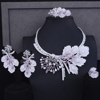 Luxury Nigerian womens necklaces jewelry christmas Gift Big Flower Shape Collar Necklace Earrings Bracelet Ring Jewelry Sets 1