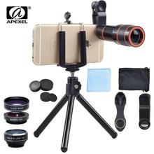 APEXEL 6IN1 Telefoon Camera lenzen Kit 12X Telezoom Lentes + Statief Clips + Groothoek Macro Fisheye lens Voor mobiele Telefoon iPhone