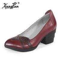Xiangban модные Винтаж Для женщин Обувь кожаная для девочек элегантные Высокие каблуки элегантный красный заостренный Обувь мелкая рот 2018 Весн