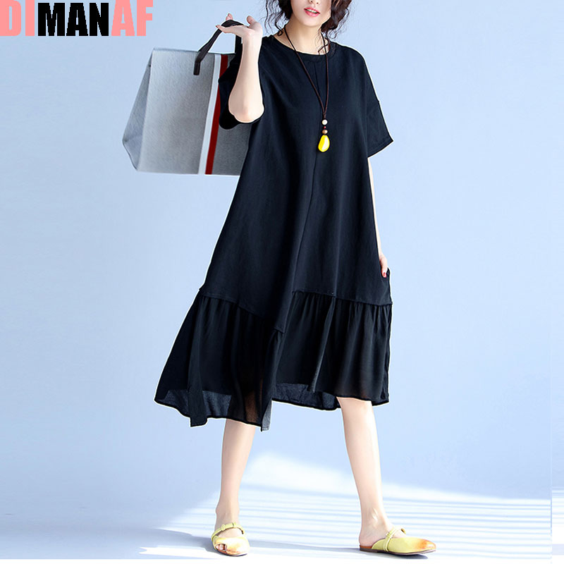 DIMANAF Women Summer Dress Plus Size Solid Print Draped O-Neck Cotton Patchwork Female Fashion Black 2017 Lady T-Shirt Dresses