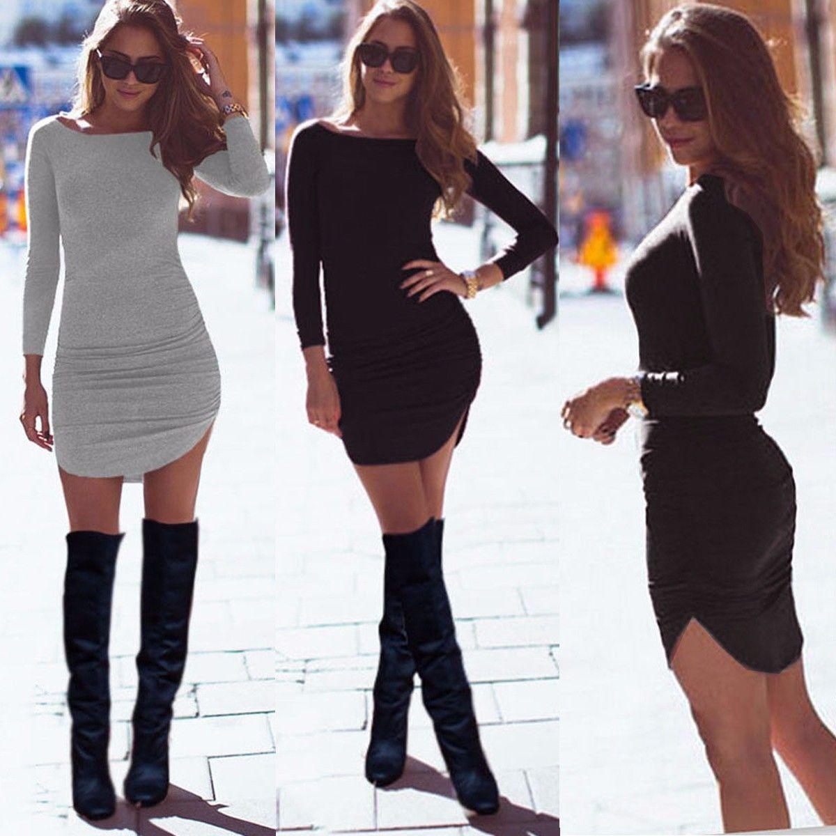 474d6c206d696 US $6.3 9% OFF|Plus Size Women Clothing 2016 Autumn Long Sleeve Mini  Bodycon Tunic Slim Party Sexy Clubwear Side Split Tshirt Bandage Dresses-in  ...