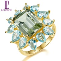 Lohaspie 9 35ct Natural Gemstone Green Amethyst Blue Topaz Ring Solid 925 Sterling Silver Yellow Gold