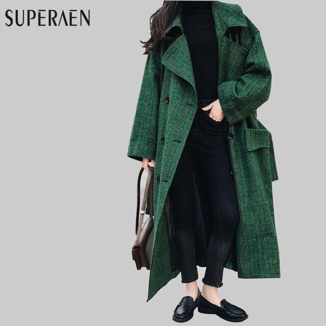 3c833a61d7 SuperAen 2018 Nova Primavera Estilo Coreano Mulheres De Lã Brasão Solto  Manga Comprida Selvagem Longo Casaco