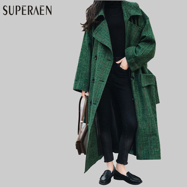 SuperAen 2018 Spring New Korean Style Women Woolen Coat Loose Long Sleeve Wild Long Coat Women's Double-breasted Woolen Coat