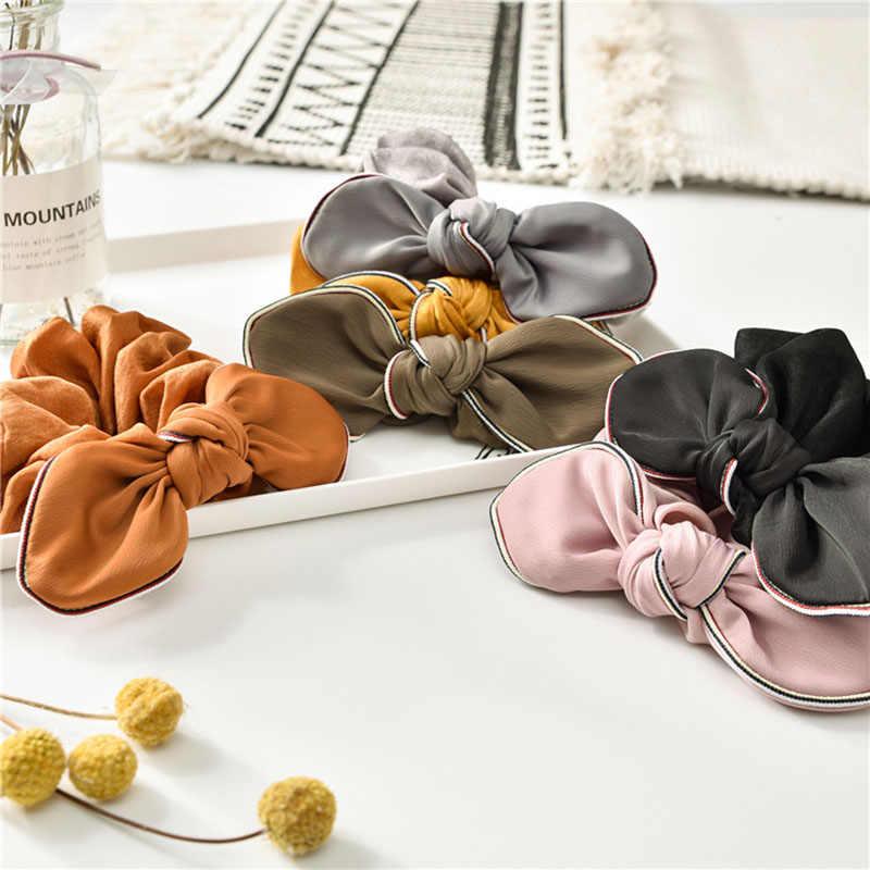 Хорошее качество, одноцветные резинки для волос для девочек, Шелковый бантик для волос, Женский Банни, Упругие резинки для волос, резинка для волос, резинка для конского хвоста