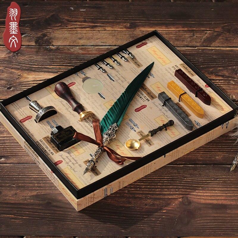 Retro Feather Pen quill Pen Gift Set English Calligraphy Pen Christmas Gift