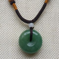 A-108 Chinese Natural Green JADE PENDANT Ping'an Circle Donut Amulet Lucky Charm