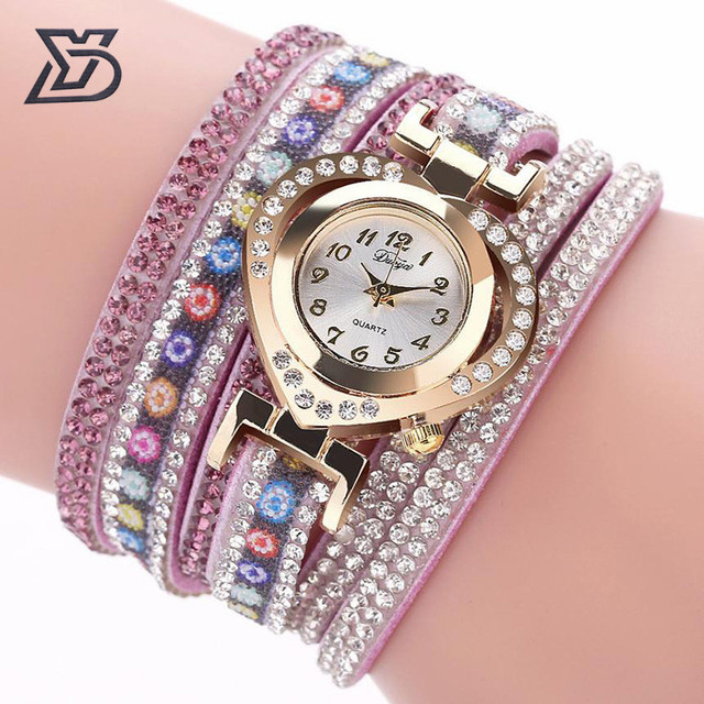 Duoya Brand Crystal Rhinestone Bracelet Watch Women Casual Fine Leather Band Lov