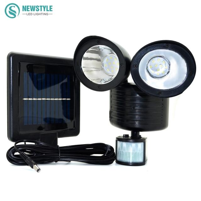 Newstyle 22leds LED Solar Light Twin Head PIR Motion Sensor Lighting  Outdoor Solar Lamp Waterproof Pathway