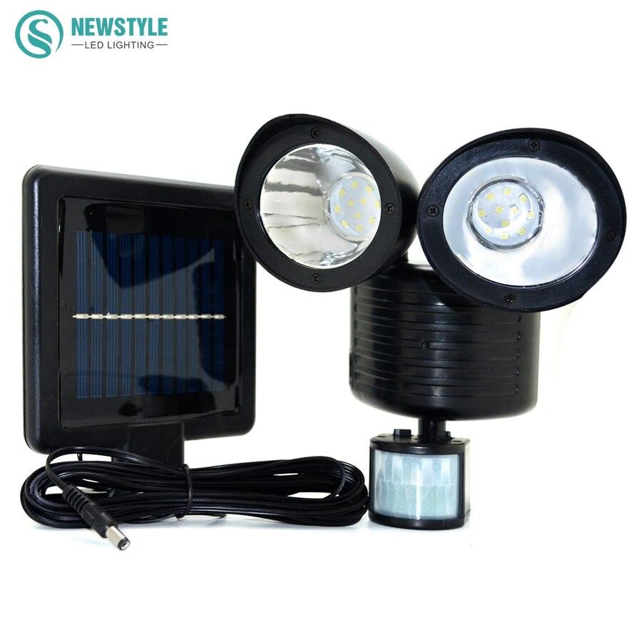Newstyle 22leds <font><b>LED</b></font> Solar Light Twin Head PIR <font><b>Motion</b></font> Sensor Lighting Outdoor Solar lamp Waterproof Pathway Emergency lawn lamp