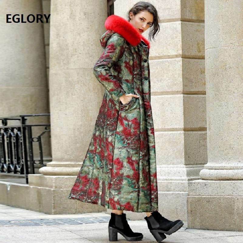 4XL!2018 Winter Warm Coats & Jacket Down Parka Outwear Women Fox Fur Hooded  Abstract Print Casual