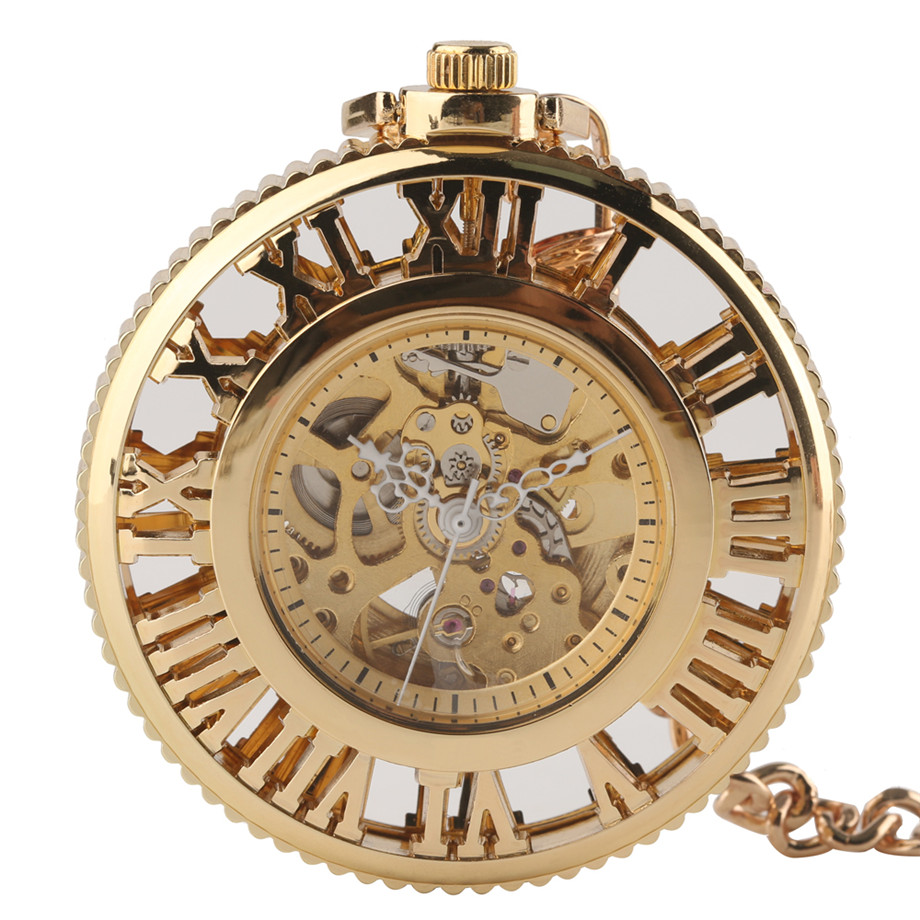 Roman Number Golden Automatic Mechanical Pocket Watch For Men Luxury Stylish Hollow Design Mechanical Pocket Watches