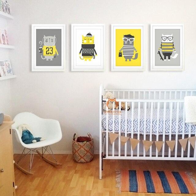 Geel Kat Cartoon Dieren Canvaskunst Schilderij Poster Muur