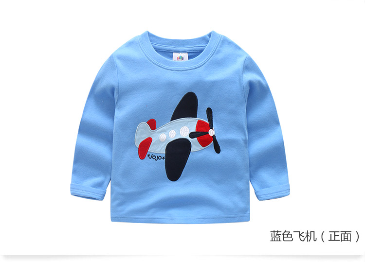 2018 Spring Autumn For 2-9 10 Years Children Cotton Striped Patchwork Cartoon Car Bus Truck Baby Kids Boys Long Sleeve T Shirts (43)