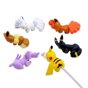 Image 1 - CHIPAL חמוד ביס בעלי החיים המותח כבל עבור iPhone USB נתונים כבל מגן חוט ארגונית Chompers קריקטורה עקיצות בובת דגם מחזיק