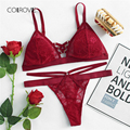 958a56b5ab7 COLROVIE Ring Detail Lace Up Lingerie Set Summer Red Sexy Bra Set Plain  Spring Women Bra And Panties Set Lace Bra And Brief Sets