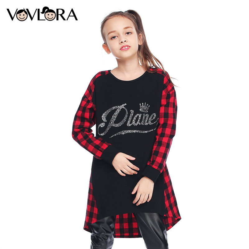 VOVLORA 2017 New Arrival Girls kids long sleeve tops baby girls t shirt cotton o-neck fashion autumn&winter children clothing 14 kids girls tee cotton letter patterned long sleeve girls t shirt autumn fashion young children girls clothing 4 5 6 7 12 years