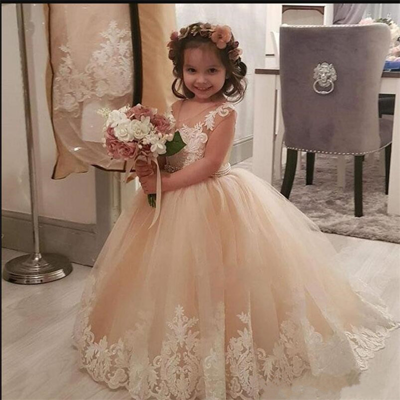Lovely 2019 Ball Gowns with Appliques Sash with Pearls   Flower     Girls     Dresses   For Weddings Sheer Neck Tulle Birthday Party Gowns