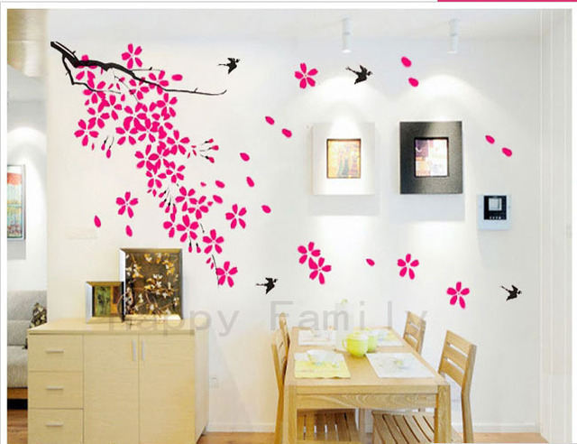 Amazing Free Shipping Plum Tree Blossom Flower Swallow Wall Stickers Living Room  Bedroom Wallpaper Home Art Decoration Part 21