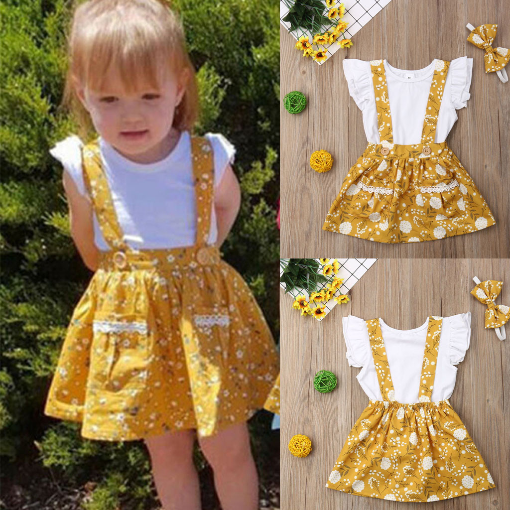 Outfit T-Shirt Ruffled Toddler Baby-Girl Lace Kid Floral Vetement Skirt Suspender Meisjes